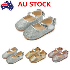 Kids Girls Ballet Shoes Ankle Strap Flat Sequins Sandals Party Princess Shoes
