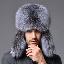 New Mens Womens Real Silver Fox Fur Russian Winter Bomber Outdoor Hat 088
