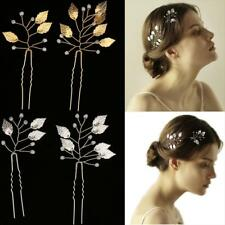 2pcs Vintage Wedding Bridal Leaves Hair Pins Bridesmaid Clips Side Comb Jewelry
