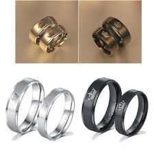 Couple Lover Stainless Steel His Queen and Her King Engangement Ring Gift 2Color