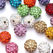 Wholesale 10Pc Micro Pave Disco Rhinestone Crystal Spacer Loose Beads Craft 10MM