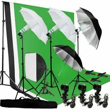 Photography Umbrella Lighting Kit Studio Bulb Muslin Backdrop Support Stand OY