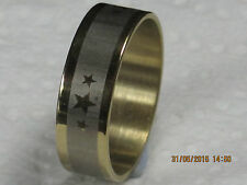 Three Stars, Stainless Steel Ring Band,width 6mm,Silver and Gold Tone