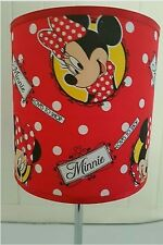 bedside table touch lamp night light fabric shade mickey minnie mouse kids