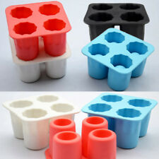 4 Cup Ice Cube Shot Glass Shape Silicone Ice Cube Tray Mold DIY Freeze Mold