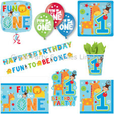One Wild Boy/Fun to be 1 Party Pack for 8 - Birthday tableware etc - Free P&P