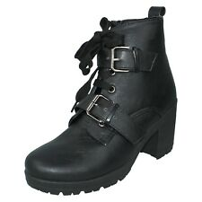 SPOT ON LADIES F50312 ZIP UP CHUNKY HEEL SHOES PLATFORM BIKER ANKLE BOOTS SIZE
