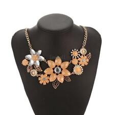 Women Fashion Crystal Rhinestone Flower Pendent Necklace Link Chain LM