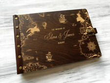 Wedding Guest Book Adventure Wedding Guestbook Travel Custom Guest Book Wood Map