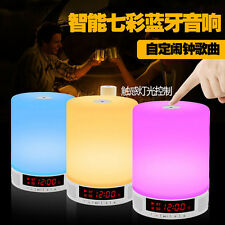 LED Wireless Bluetooth Speaker Music Sound Box with Alarm Clock Touch Table Lamp