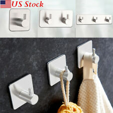 Self Adhesive Home Kitchen Wall Door Stainless Steel Stick Holder Hook Hanger US