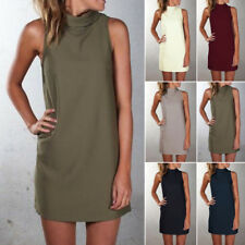 Women Summer Casual Sleeveless Choker Evening Party Cocktail Short Mini Dress