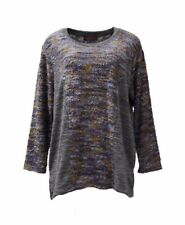 NWT PLEATS COLLECTION Blue Multi Colorblock Textured Knit  Top Sz 1X 2X  260962E