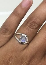 Unique 925 Sterling Silver Ladies Rainbow Moonstone Round Ring Gemstone- Gift