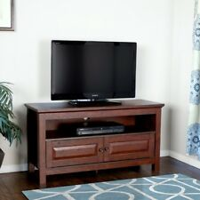 Flat Screen Tv Stand Wood Cherry 48'' Open Shelves 2 Doors Media Storage Console
