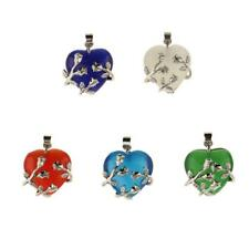 Flower Wrapped Heart Natural Crystal Pendant for DIY Charm Necklace Pendants