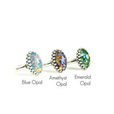 925 Silver Natural Opal Women Jewelry Wedding Birthstone Ring Size6-10