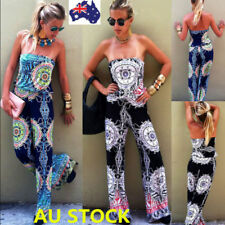 Women Floral Off Shoulder Backless Jumpsuit Long Pants Playsuit Romper Trousers