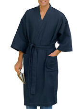 New Mens Harbor Bay Big/Tall Resort Spa Waffle-Knit Navy Blue Kimono Robe 3X/4XL