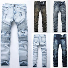 Men's Ripped Frayed Jeans Pants Stretch Skinny Denim Slim Fit Destroyed Trousers