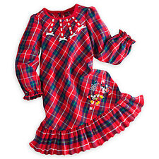 NWT Disney Store Minnie Mouse Plaid Nightgown Pjs Christmas Holiday Girl 5/6