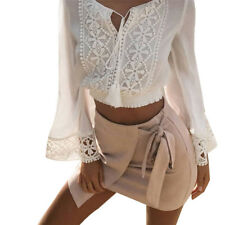 Women Summer Long Sleeve V Neck Loose Blouse Ladies Casual Lace Stitched Shirt
