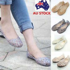 Women Bridal Crystal Slip On Shoes Soft Rubber Glitter Flat Ballet Jelly Sandals