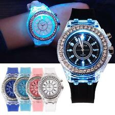 Ladies Womens LED Backlight Bling Quartz Wrist Watches Sport Watch Waterproof 0 ̄