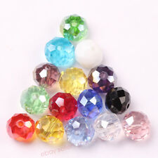 4/6/8/10mm 15 Color Rondelle Faceted Crystal Glass Loose Spacer Beads Jewelry
