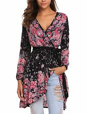 Soteer Women's V-neck Floral Print Tunic Top Sexy Casual Long Sleeve Mini Dress