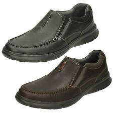 CLARKS MENS OILY LEATHER CLASSIC CASUAL SLIP ON SHOES COTRELL FREE SIZE