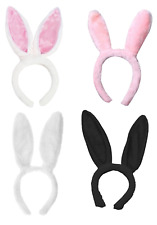 Bunny Rabbit Ears Headband Fluffy Furry Easter Adult Child Pink White Black