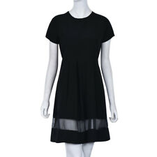 Women's Sexy Short Sleeve Mesh Patch Work Causal Party Dress Black