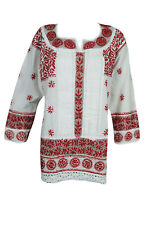 BOHEMIAN ETHNIC INDIAN TUNIC BLOUSE FLORAL EMBROIDERED LONG SLEEVES KURTA