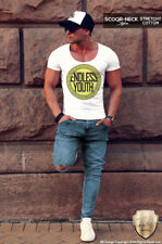 Mens Fashion T-shirt Luxury Scoop Neck Graphic Tee Shirt Deep V neck Top MD672