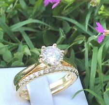 Bridal Set: Yellow Gold Plated 925 Silver Engagement Wedd Ring Simulated Diamond