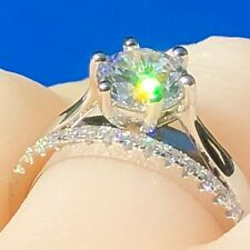 Bridal Set: 1.25ct Simulated Diamond Engagement Wedding Ring in Real 925 Silver