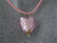 NEW GLASS HEART LAMPWORK PENDANT ON BRAIDED LEATHER NECKLACE PINKS & PURPLES
