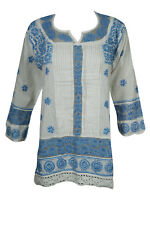 BOHO GYPSY HIPPY TUNIC BLOUSE ETHNIC INDIAN COTTON FLORAL HAND EMBROIDERED KURTA
