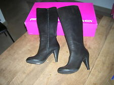 FORNARINA Black leather boots NEW Heel 8cm Value 220E Point 36,40