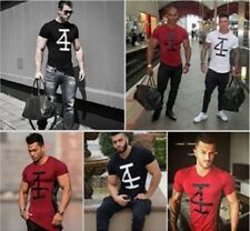 Men's Bodybuilding Number Printing Gym Tee Fitness Short Sleeve Casual T shirt