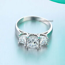 Fine 925 Sterling Silver Three-Stone Wedding Engagement Ring Simulated Diamond