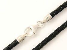 "3mm Black Briaded Bolo Leather Cord Necklace 925 sterling Silver Clasp 22"" NYC"