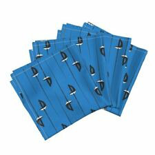 Sabre Saber Sword Weapon Fencing Blue Cotton Dinner Napkins by Roostery Set of 4