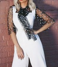 Black White Polka Dot Jumpsuit Sheer Mesh Neck Bow Tie Wide Leg Vacation Party