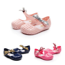 Girls Kids Flat Jelly Sandals Summer Beach Princess Ankle Strap Hollow Shoes