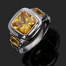 Luxury Jewelry Fashion Size 8,9,10,11,12 Mans Topaz 10K Gold Filled Ring Gift