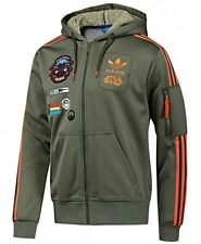 Adidas Originals X Star Wars X-Wing Green Flock Hoodie Jacket Track Top Zip