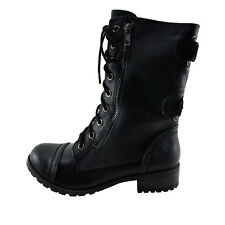 Soda Dome Black Women's Lace Up Combat Boot