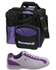 Womens 3G KICKS Bowling Shoes White/Purple Sizes 6 - 11 & Brunswick 1 Ball Bag